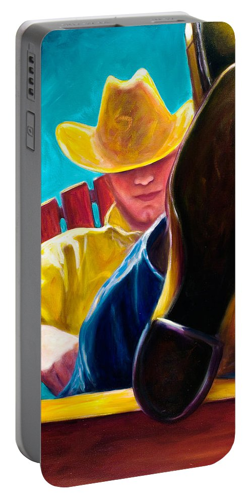 Western Portable Battery Charger featuring the painting Break Time by Shannon Grissom