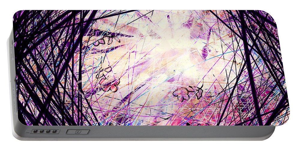 Abstract Portable Battery Charger featuring the digital art Breakdown by William Russell Nowicki