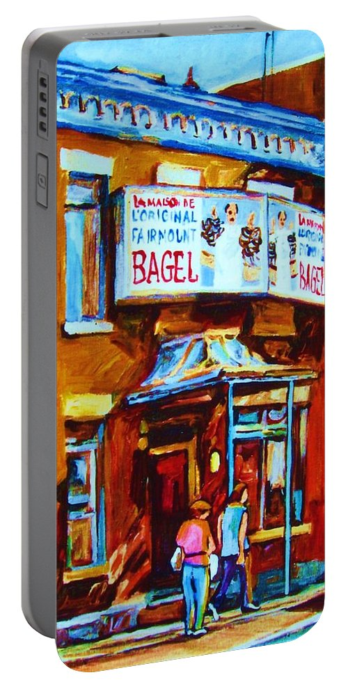 Fairmount Bagel Portable Battery Charger featuring the painting Breakfast At The Bagel Cafe by Carole Spandau