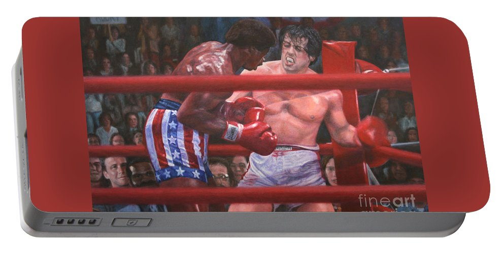 Rocky Balboa Portable Battery Charger featuring the painting Breakin' Ribs - Rocky by Bill Pruitt
