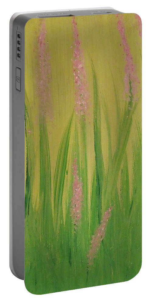 Flowers Portable Battery Charger featuring the painting Breaking Ground by Steve Cochran