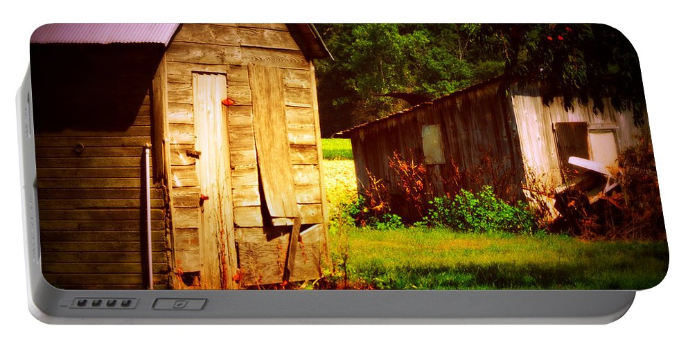 Outbuildings Deterioating In A Farm In Northwestern Ohio. It Breaks My Heart To See This Happening. Portable Battery Charger featuring the photograph Breaking My Heart by Paulette B Wright