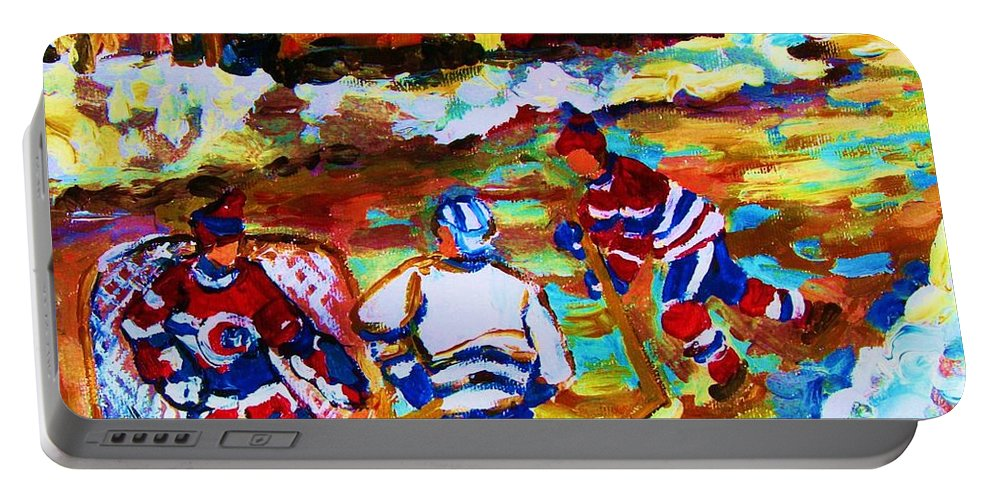 Streethockey Portable Battery Charger featuring the painting Breaking The Ice by Carole Spandau