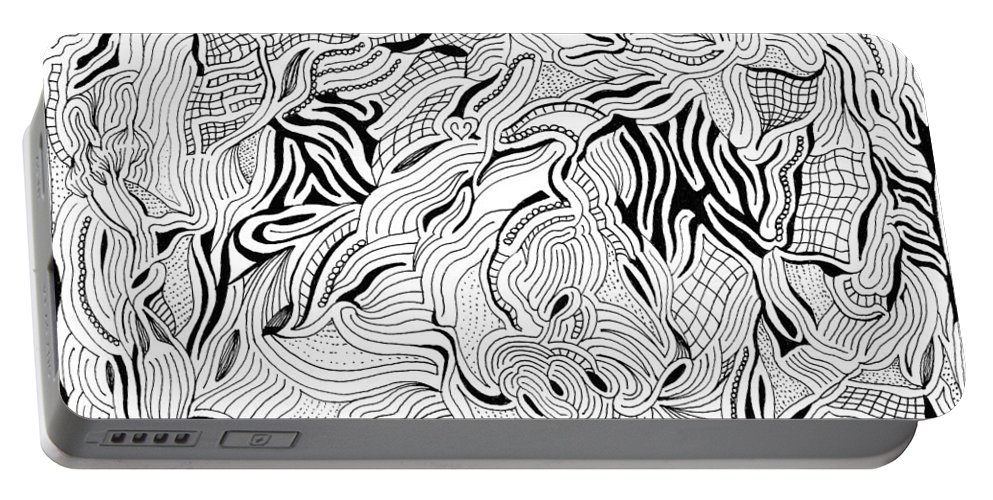 Mazes Portable Battery Charger featuring the drawing Breaking Up by Steven Natanson