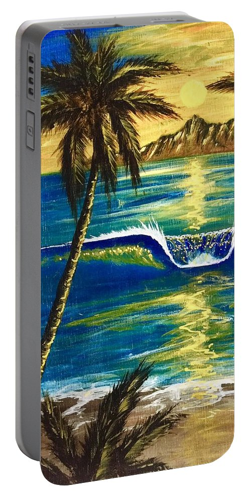 Tropical Portable Battery Charger featuring the painting Breathe In The Moment by Paul Carter