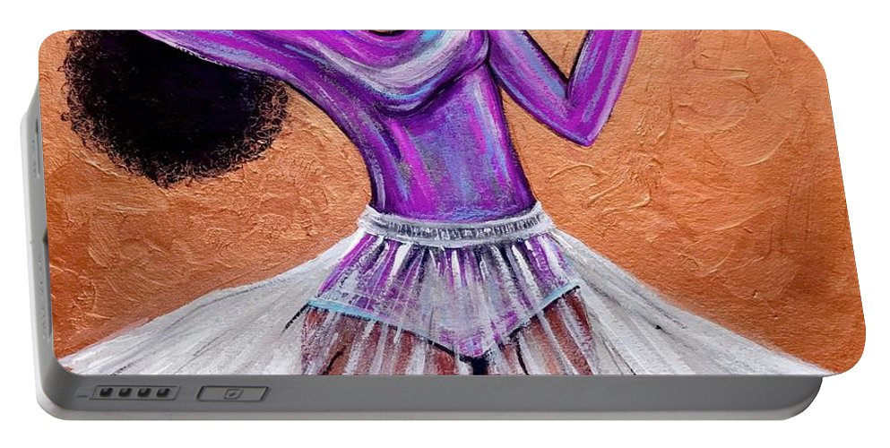 Ballerina Portable Battery Charger featuring the painting Breathtaking moments by Artist RiA