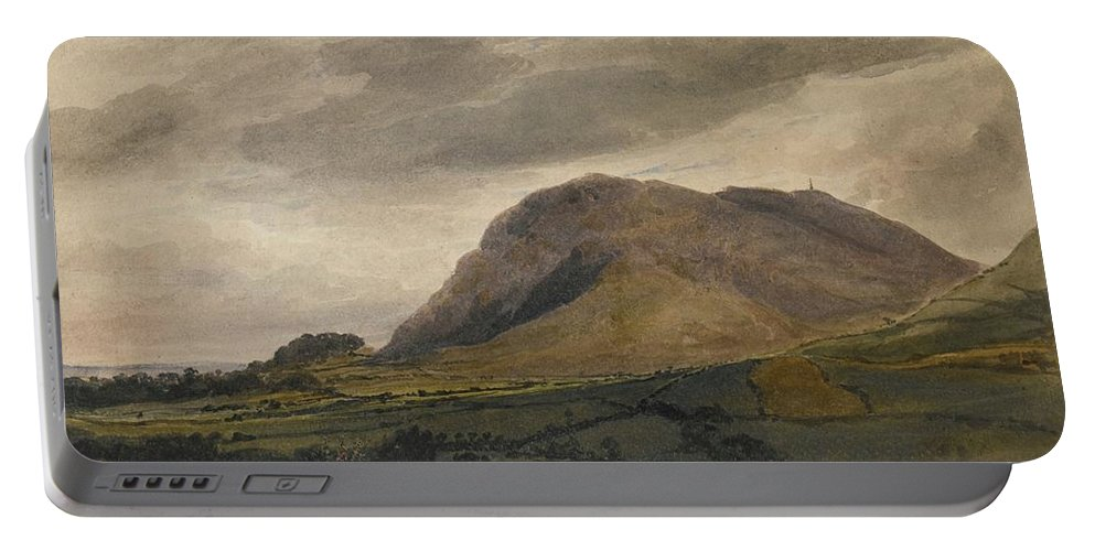 David Cox Portable Battery Charger featuring the painting Breidden Hill In The Welsh Borders by MotionAge Designs
