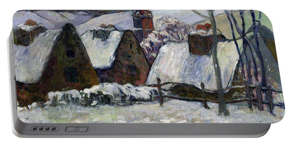 Breton Village Under Snow Portable Battery Charger featuring the painting Breton Village Under Snow by Paul Gauguin