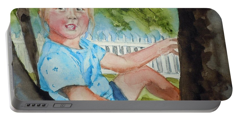 Portrait Portable Battery Charger featuring the painting Brianna In Tree by Jean Blackmer