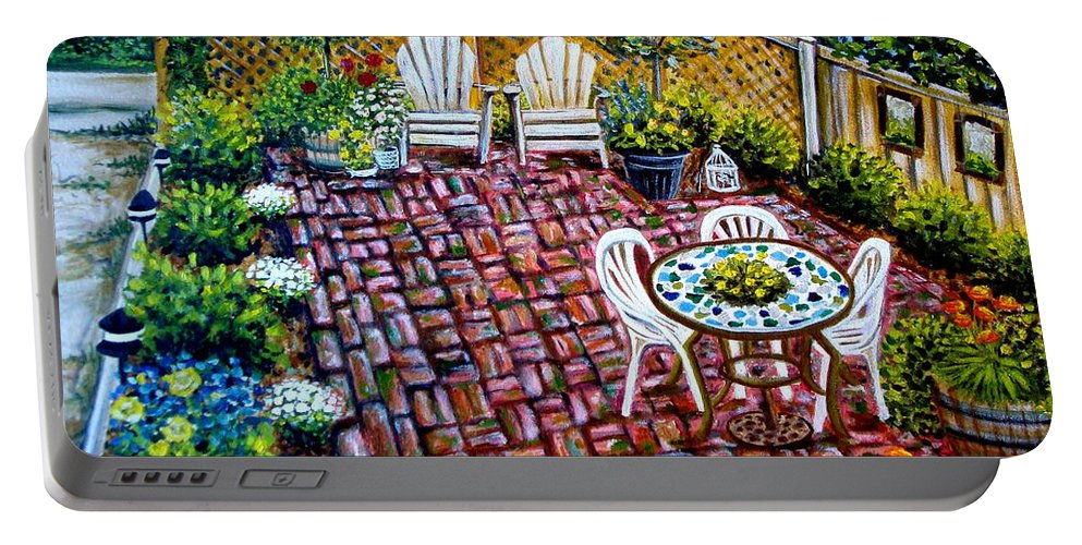 Landscape Portable Battery Charger featuring the painting Brickwork by Elizabeth Robinette Tyndall