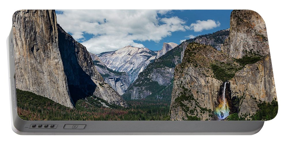 Yosemite Portable Battery Charger featuring the photograph Bridal Veil Falls Rainbow by Daniel Kelly