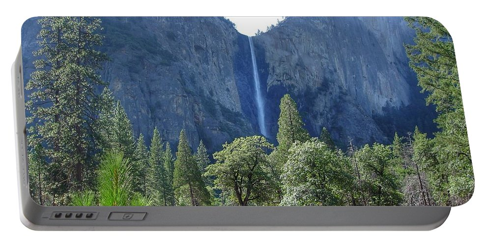 Bridal Veil Portable Battery Charger featuring the painting Bridal Veil Yosemite by Anne Sands