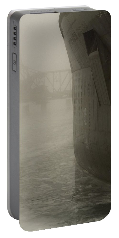 Water Portable Battery Charger featuring the photograph Bridge And Barge by Tim Nyberg