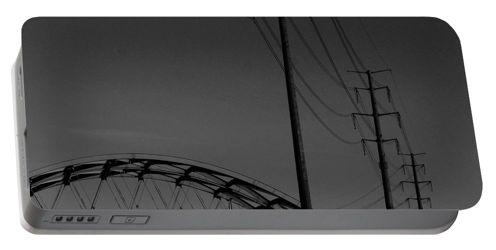 Metal Structures Portable Battery Charger featuring the photograph Bridge And Power Poles At Dusk by Angus Hooper Iii