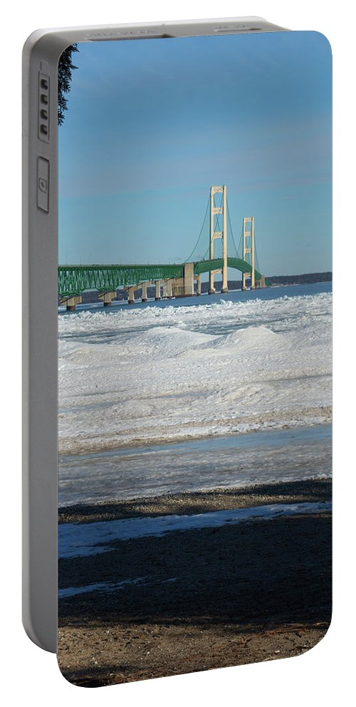 Michigan Portable Battery Charger featuring the photograph Bridge At Winter by Linda Kerkau