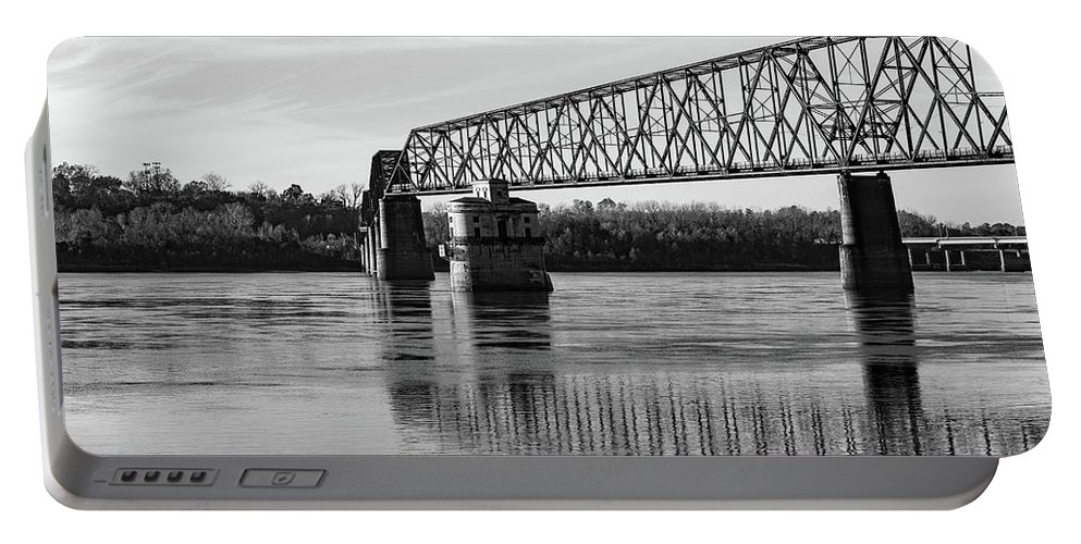 Bridge Portable Battery Charger featuring the photograph Bridge In Black And White by Tim Bartley