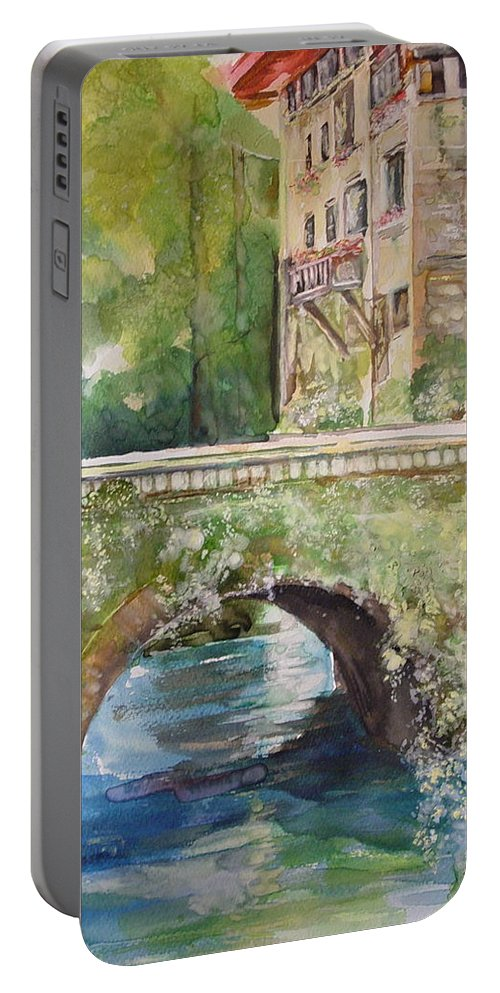Rock Building Portable Battery Charger featuring the painting Bridge In Spain by Robin Miller-Bookhout