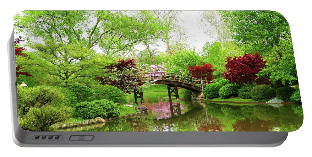 Print On Canvas Portable Battery Charger featuring the painting Bridge Over Calm Waters by Susanna Katherine