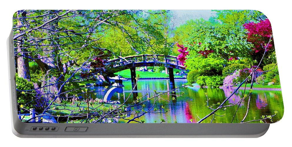 Canvas Print Portable Battery Charger featuring the painting Bridge Over Peaceful Waters by Susanna Katherine