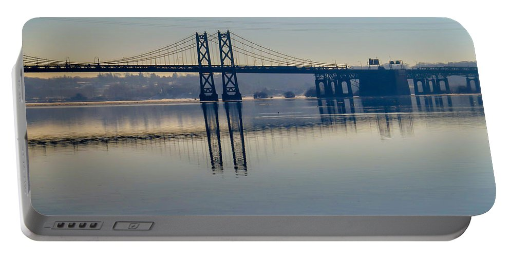 Bridge Portable Battery Charger featuring the photograph Bridge Over The Mississippi by Deb Fedeler