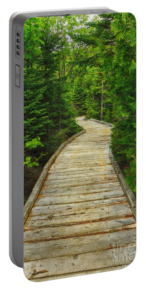Chimney Pond Hiking Trail Portable Battery Charger featuring the photograph Bridge To Chimney Pond by Elizabeth Dow