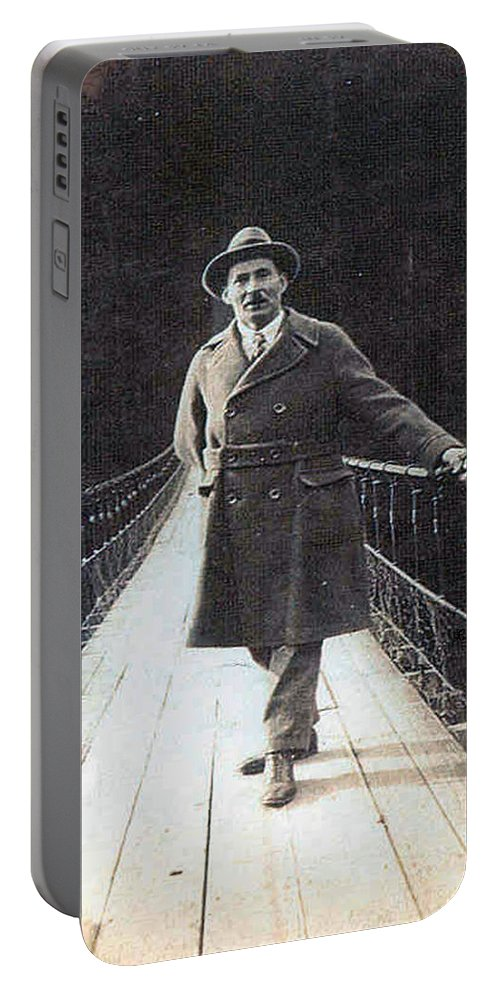 Bridge Man Classic Black And White Old Photo Pioneers Old Days 1900s Portable Battery Charger featuring the photograph Bridge To Dreams by Andrea Lawrence