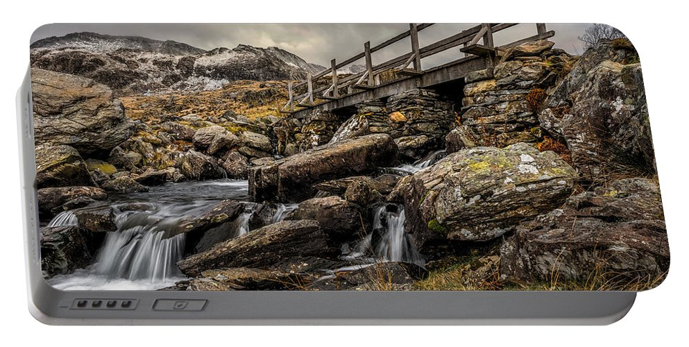 Waterfall Portable Battery Charger featuring the photograph Bridge To Moutains by Adrian Evans
