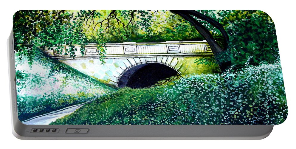 Landscape Portable Battery Charger featuring the painting Bridge To New York by Elizabeth Robinette Tyndall