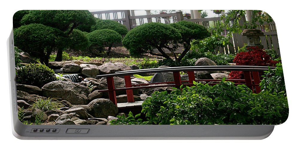 Japanese Garden Portable Battery Charger featuring the photograph Bridge To Nowhere by Terry Matzke