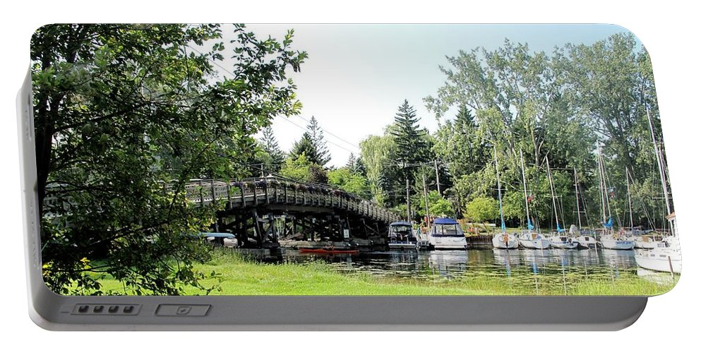 Yahcts Portable Battery Charger featuring the photograph Bridge To The Club by Ian MacDonald