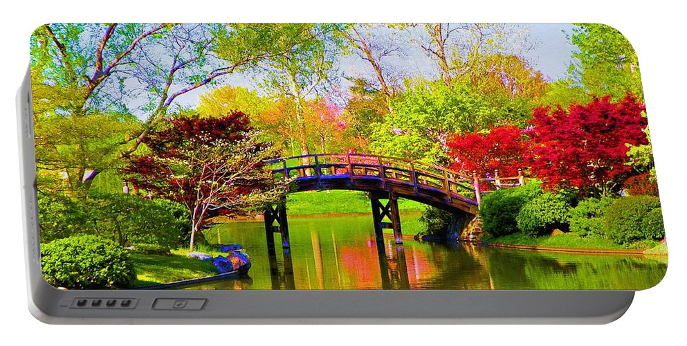 Canvas Print Portable Battery Charger featuring the painting Bridge With Red Bushes In Spring by Susanna Katherine