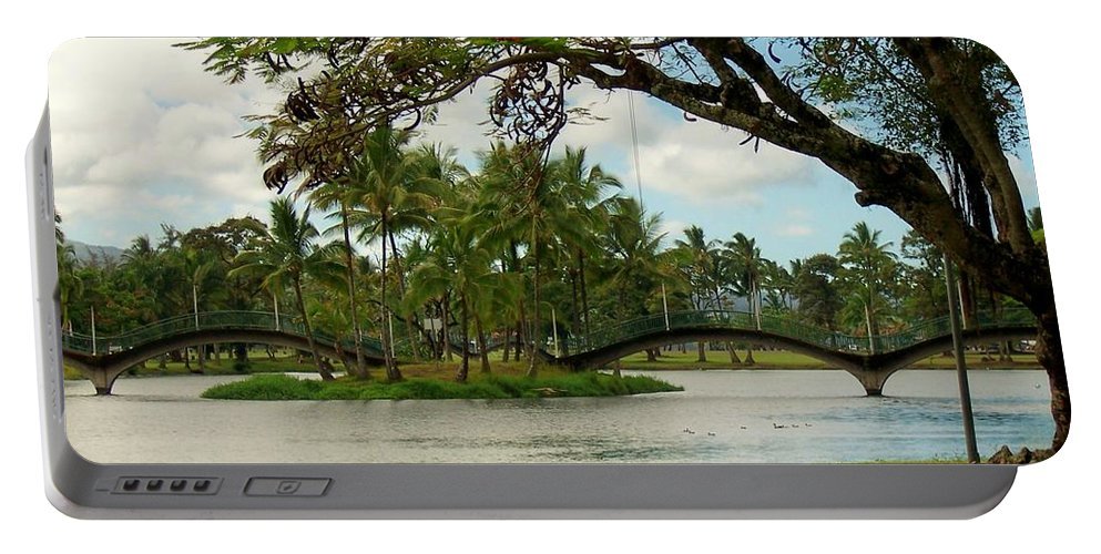 Landscape Portable Battery Charger featuring the photograph Bridges At Wailoa by Dina Holland