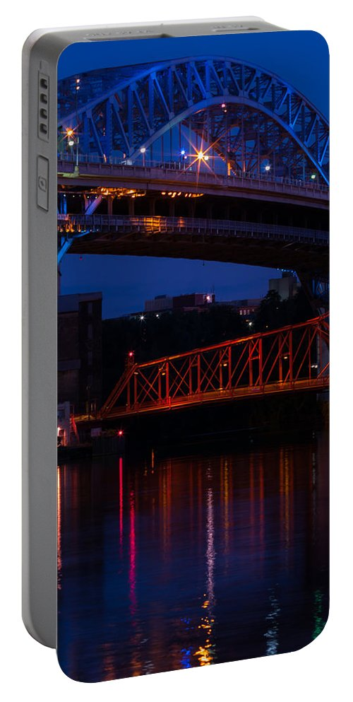 Cleveland Portable Battery Charger featuring the photograph Bridges Red White And Blue by Stewart Helberg
