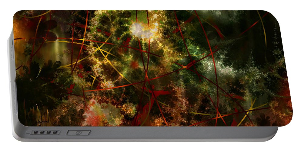 Abstract Portable Battery Charger featuring the digital art Bridges To Inner Sanctums by Stephen Lucas