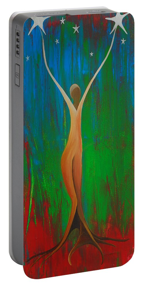 Bridging Heaven And Earth Portable Battery Charger featuring the painting Bridging Heaven And Earth by Catt Kyriacou