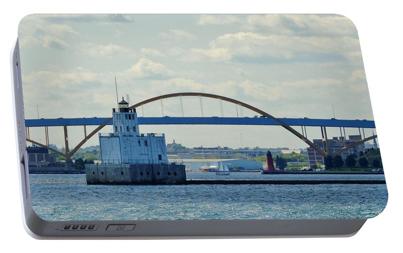 Harbor Portable Battery Charger featuring the photograph Bridging The Milwaukee Harbor by Red Cross