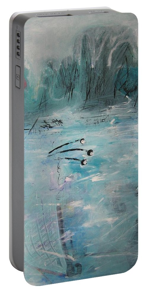 Abstract Paintings Portable Battery Charger featuring the painting Brierly Beach by Seon-Jeong Kim