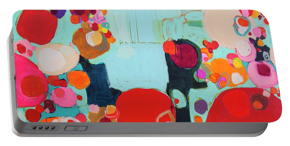 Abstract Portable Battery Charger featuring the painting Bright As Quiet by Claire Desjardins