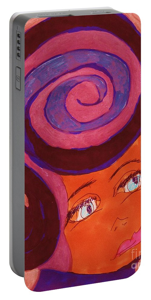 Blue Eyed Medium Dark Complected Lady Portable Battery Charger featuring the mixed media Bright Eyed Beauty by Elinor Helen Rakowski