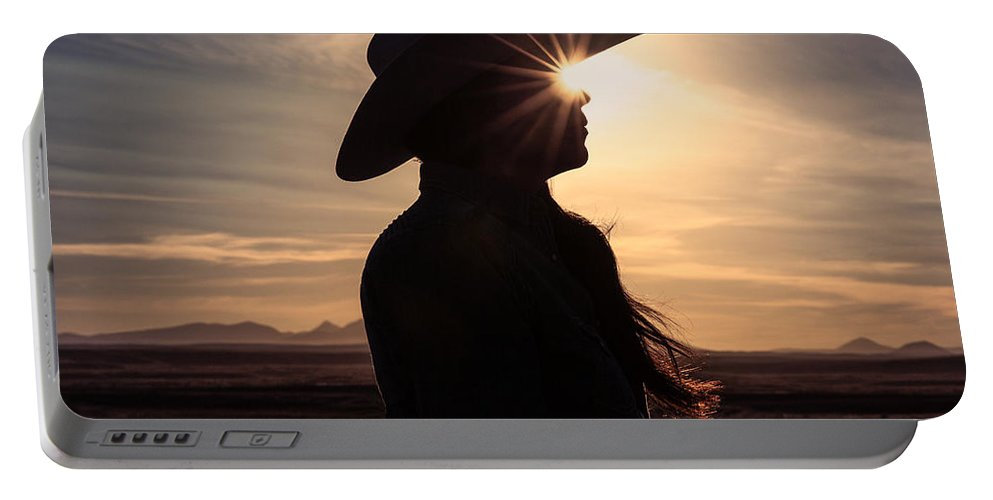 Cowgirl Portable Battery Charger featuring the photograph Bright Eyes by Todd Klassy