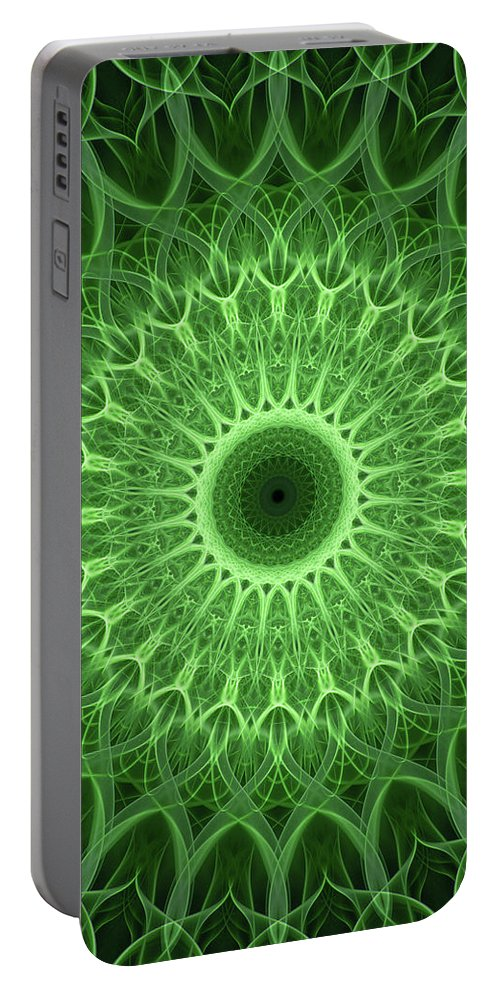 Mandala Portable Battery Charger featuring the photograph Bright Green Mandala by Jaroslaw Blaminsky
