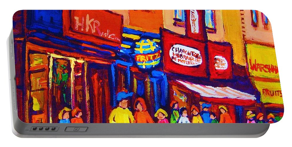 Schwartz's Hebrew Deli Portable Battery Charger featuring the painting Bright Lights On The Main by Carole Spandau