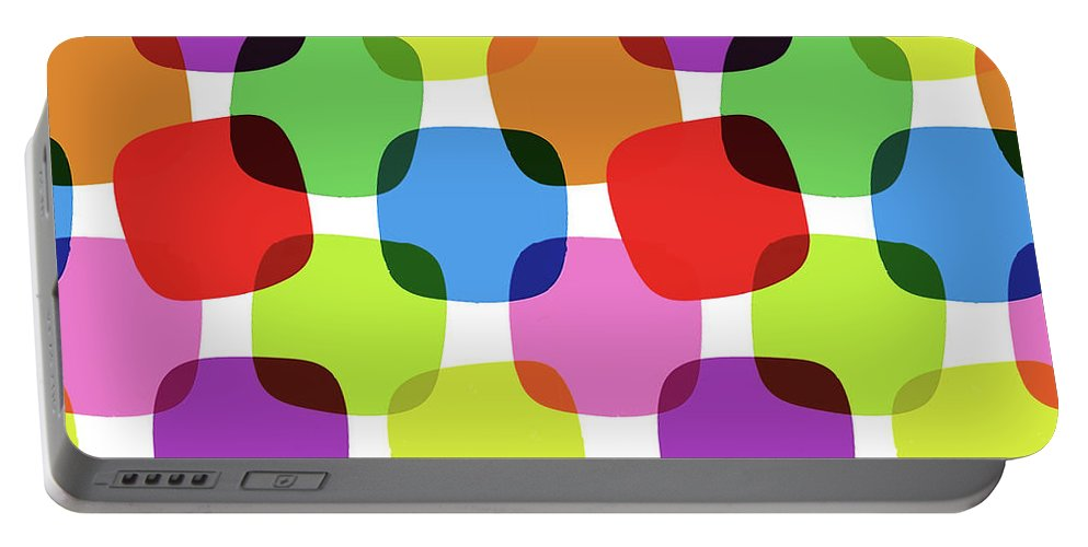 Bright Portable Battery Charger featuring the digital art Bright Squares by Long Shot