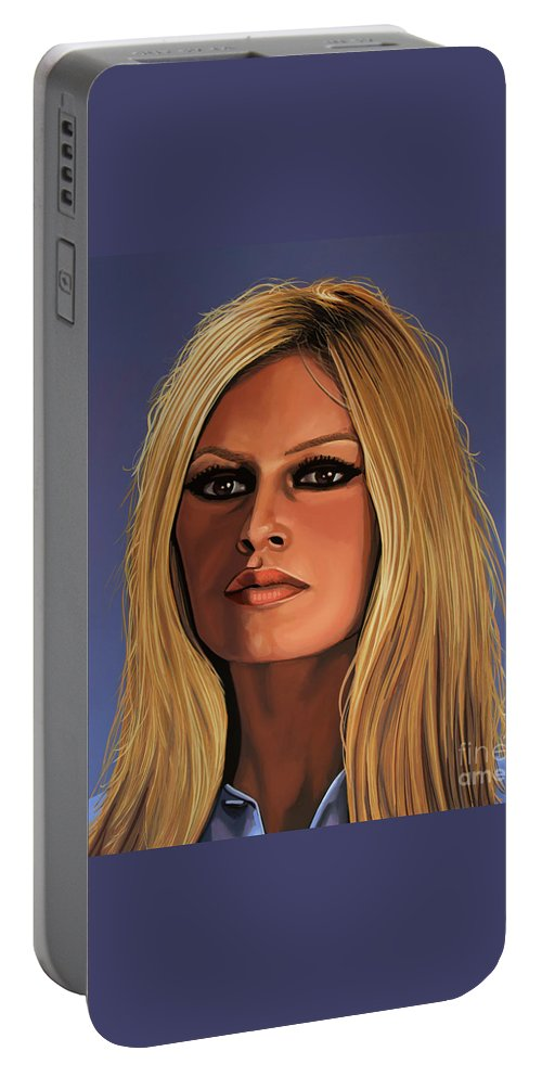 Brigitte Bardot Portable Battery Charger featuring the painting Brigitte Bardot Painting 3 by Paul Meijering