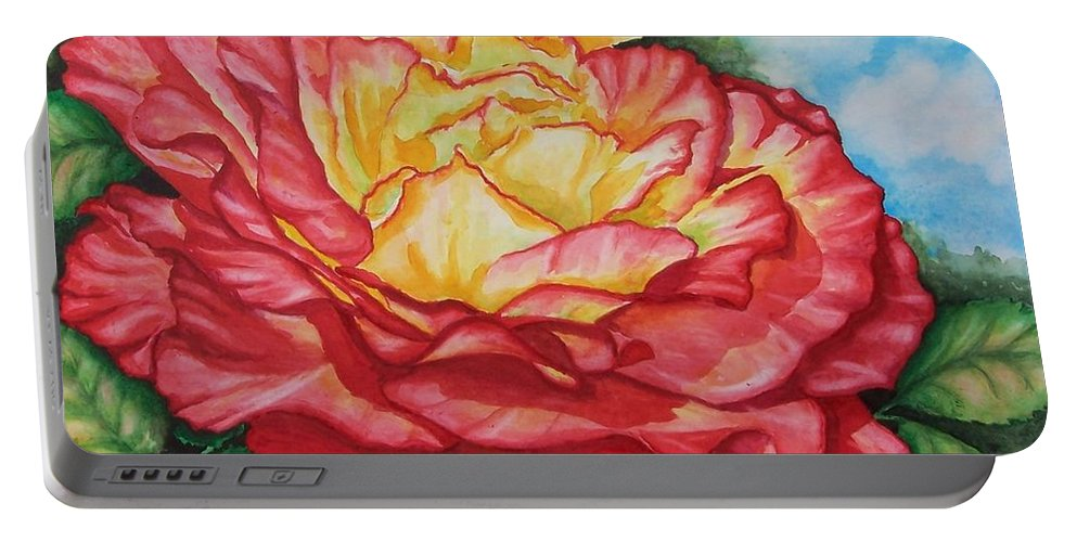 Rose Portable Battery Charger featuring the painting Brilliant Bloom by Conni Reinecke