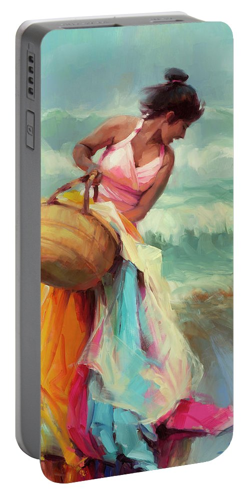 Beach Portable Battery Charger featuring the painting Brimming Over by Steve Henderson