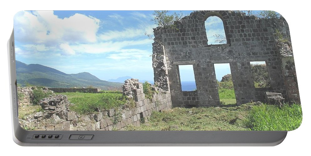 St Kitts Portable Battery Charger featuring the photograph Brimstone Ruins by Ian MacDonald