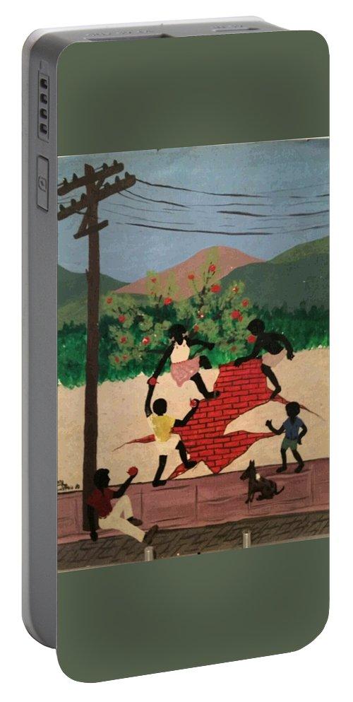 Landscape Portable Battery Charger featuring the painting Brincadeiras De Criancas by Luiz Roberto Rocha Maia