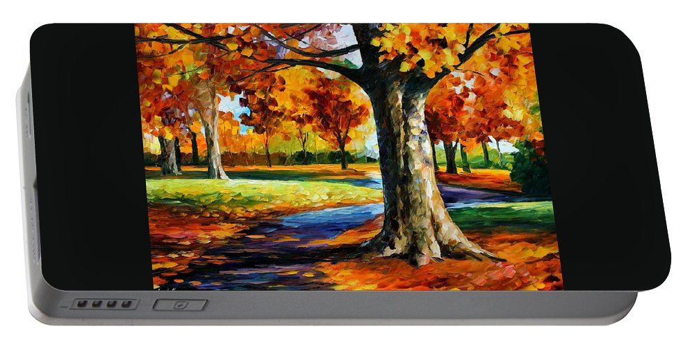 Afremov Portable Battery Charger featuring the painting Bristol Fall by Leonid Afremov