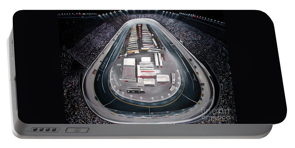Racing Portable Battery Charger featuring the painting Bristol Motor Speedway Racing The Way It Ought To Be by Patricia L Davidson